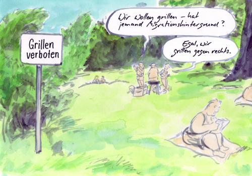 Cartoon: Berlin (medium) by Bernd Zeller tagged berlin,tiergarten,hasenheide,migrationshintergrund,grillen,parks,rechts,rechte,demo