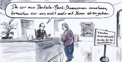 Cartoon: Großbank (medium) by Bernd Zeller tagged dresdner,commerzbank,übernahme,kundenberater,beraterbank,fusion,allianz