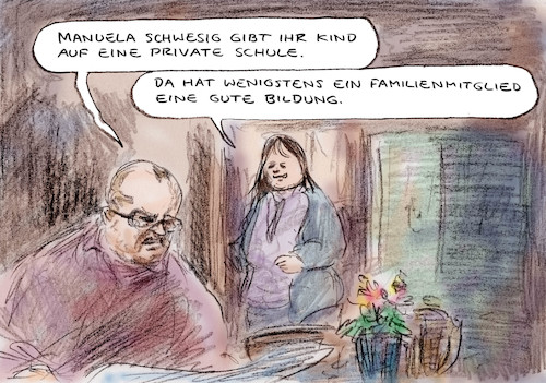 Cartoon: Kind in Sicherheit (medium) by Bernd Zeller tagged schule