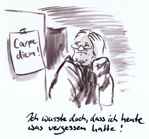 Cartoon: Notizzettel (medium) by Bernd Zeller tagged carpe,diem