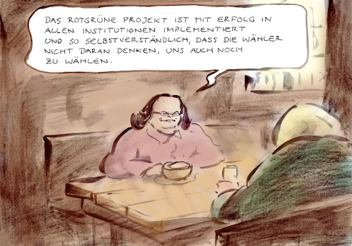 Cartoon: Rotgrünes Projekt (medium) by Bernd Zeller tagged rotgrün