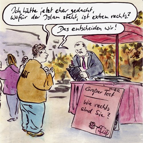 Cartoon: Tendenzen (medium) by Bernd Zeller tagged tendenz,rechts,islam,rechtsruck,sarrazin