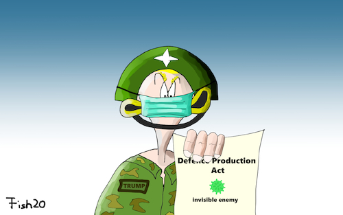 Cartoon: Defence Production Act (medium) by Fish tagged usa,trum,defence,production,act,invisible,enemy,fein,unsichtbar,corona,covid19,seuche,pandemie,epidemie,fish
