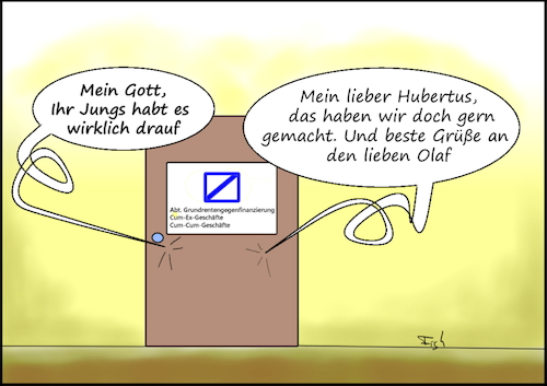Cartoon: Grundrentengegenfinanzierung (medium) by Fish tagged grundrente,cum,ex,finanzbranche,steuern