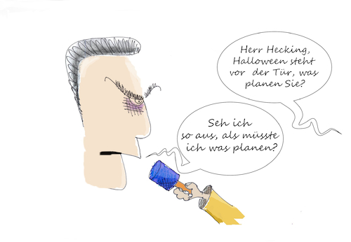 Cartoon: Hecking feiert Halloween (medium) by Fish tagged sport,hsv,fussball,halloween,trainer,hecking