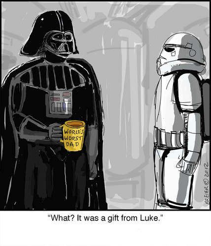 Cartoon: Bad Dad (medium) by noodles tagged darth,vader,star,wars,father,son,movies,noodles
