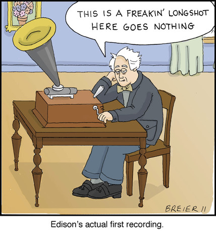 Cartoon: Edison (medium) by noodles tagged edison,phonograph,inventors