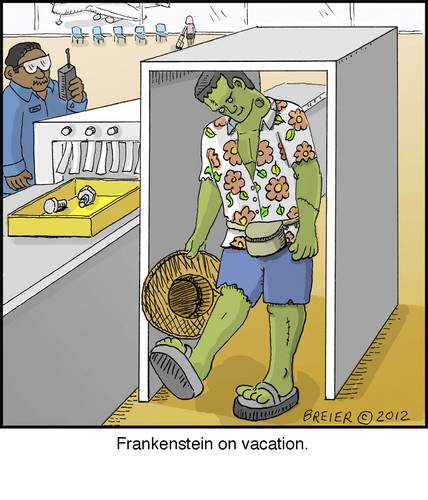 Cartoon: Frankenstein (medium) by noodles tagged frankenstein,airport,security,metal,detector,travel
