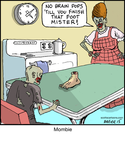 Cartoon: Mombie (medium) by noodles tagged brains,foot,kitchen,zombie,mombie