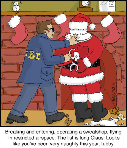 Cartoon: White-Collar Criminal (medium) by noodles tagged handcuffs,busted,holidat,fbi,santa,christmas