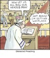 Cartoon: Distracted Preaching (small) by noodles tagged priest,texting,church,pray,distracted
