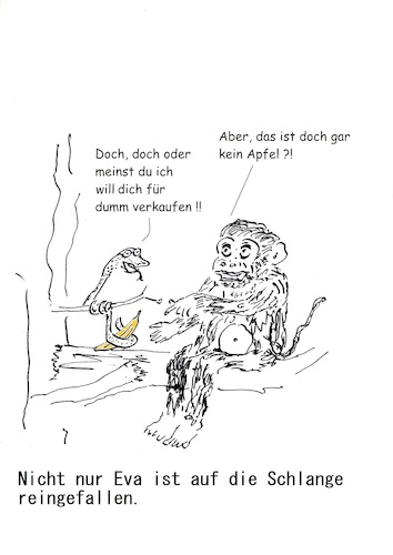 Cartoon: Der Affe und die Schlange (medium) by Stefan von Emmerich tagged adam,eva,schlange,apfel,religion,altes,testament
