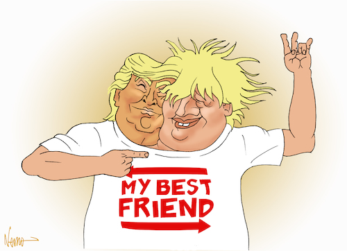 Cartoon: Best Friends Trump and Boris (medium) by NEM0 tagged europe,england,eu,gb,great,britain,uk,brexit,boris,johnson,pm,potus,donald,trump,best,friends,tshirt,remain,leave,populism,nemo,nem0,europe,england,eu,gb,great,britain,uk,brexit,boris,johnson,pm,potus,donald,trump,best,friends,tshirt,remain,leave,populism,nemo,nem0
