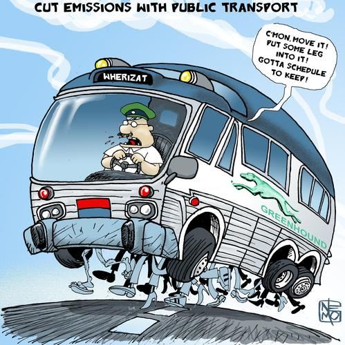 Cartoon: Greenhound the Eco Bus (medium) by NEM0 tagged vehicle,transportation,transit,mass,motor,public,transport,coaches,coach,energy,ecological,ecology,eco,cars,car,buses,bus,auto