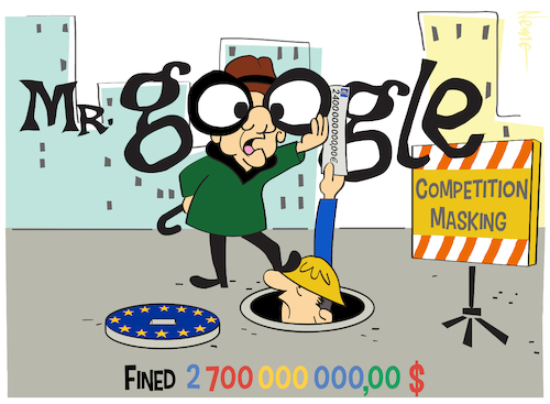 Cartoon: Mr. Google (medium) by NEM0 tagged google,shopping,search,engine,results,competition,masking,eu,penalty,fine,euro,europe,shop,nemo,billion,euros,nem0