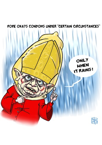 Cartoon: Pope Okays Condoms (medium) by NEM0 tagged im,moral,virtue,vatican,stds,std,roman,rome,commandments,sins,sin,prostitution,gays,gay,homosexuality,sexuality,pope,ok,nemo,disorder,disease,sexual,diseases,contraception,condoms,condom,christians,christian,catholics,catholic,xvi,benedict,accept,aids