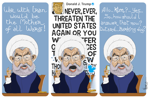 Cartoon: ROUHANI VS TRUMP (medium) by NEM0 tagged hassan,rouhani,iranian,president,iran,middle,east,mideast,persia,persian,gulf,trump,obama,nuclear,deal,pompeo,mafia,ayatollahs,islamist,strait,of,hormuz,punitive,sanctions,violent,rhetoric,fire,and,fury,threat,death,to,america,teheran,hassan,rouhani,iranian,president,iran,middle,east,mideast,persia,persian,gulf,trump,obama,nuclear,deal,pompeo,mafia,ayatollahs,islamist,strait,of,hormuz,punitive,sanctions,violent,rhetoric,fire,and,fury,threat,death,to,america,teheran