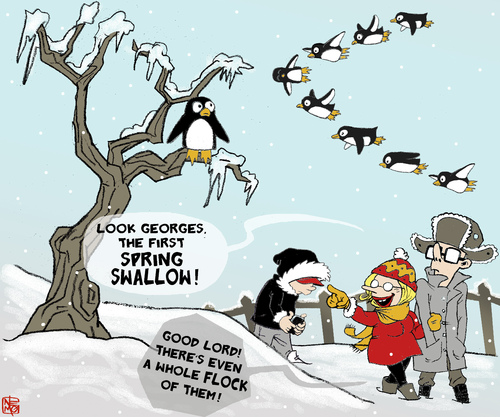 Cartoon: Spring Back (medium) by NEM0 tagged spring,swallow,winter,snow,penguin,cold,tree,ice,weather,meteorology