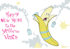 Cartoon: Happy New Year Yellow Vests (small) by NEM0 tagged macron,france,new,year,yellow,vests,protests,riots,banana,carbon,tax,middle,class,warfare,unemployment,climate,change,paris,agreement,un,sustainability,nemo,nem0