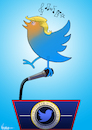 Cartoon: Twitter of the United States (small) by NEM0 tagged donald,trump,tweet,twitter,internet,social,media,network,realdonaldtrump,communications,technology,smartphone,press,conference,journalism,journalist,nemo,nem0