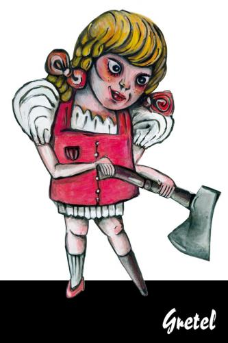 Cartoon: gretel kills (medium) by Battlestar tagged gretel,hänsel,märchen,fairytale,murderous,ax,axt,holzbein