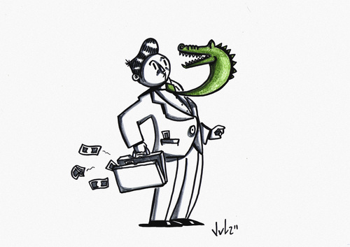Cartoon: Kroko (medium) by julianloa tagged crocodile,tie,money,capitalism,power,risks