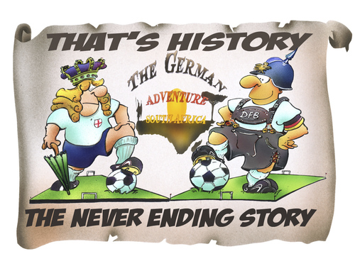 Cartoon: England vs Germany (medium) by HSB-Cartoon tagged soccer,football,fußball,sport,sports,england,germany,deutschland,südafrika,southafrica,history,game,play,player,championship,wc2010,worldchampionship,weltmeister,weltmeisterschaft,cup,cartoon,karikatur,caricature