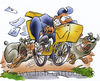 Cartoon: postman (small) by HSB-Cartoon tagged postman,postbote,fahhrad,bike,bicycle,dog,dogs,letter,post,brief,hund,hunde,kampfhund,pedelec,hundebiss,cartoon,airbrush