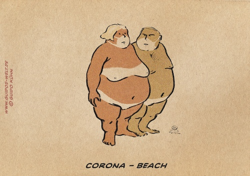 Cartoon: Corona Beach (medium) by gkuehn tagged corona,covid19,pandemia