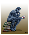 Cartoon: The Thinker (small) by miguelmorales tagged social,networks,book,thinker,rodes,reading,facebook,twitter,library,libros,lecturas,redes,sociales