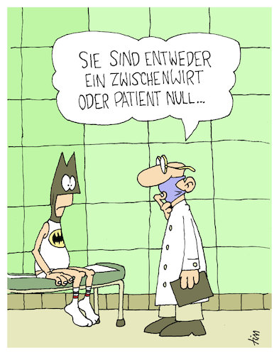Cartoon: Patient Null (medium) by Tim Posern tagged corona,medizin,forschung,superheld