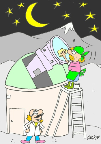 Cartoon: cleaning important (medium) by yasar kemal turan tagged cleaning,important,telescope,scientist,women