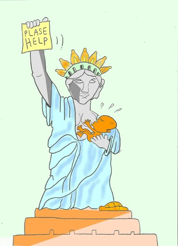 Cartoon: help africa (medium) by yasar kemal turan tagged us,liberty,of,statue,hunger,africa,help