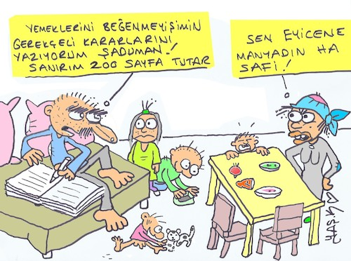 Cartoon: reasoned decision (medium) by yasar kemal turan tagged reasoned,decision