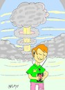 Cartoon: atomic frequency (small) by yasar kemal turan tagged iphone,jobs,apple,atomic,bomb,nuclear,mobile,phone
