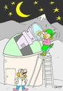 Cartoon: cleaning important (small) by yasar kemal turan tagged cleaning,important,telescope,scientist,women