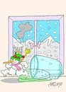 Cartoon: escape  freedom (small) by yasar kemal turan tagged escape freedom snowman love