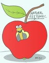 Cartoon: respect for life (small) by yasar kemal turan tagged respect,for,life,worm,apple,feed,hormone,natural,love