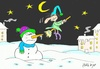 Cartoon: suddenly (small) by yasar kemal turan tagged suddenly snowman witch broom love