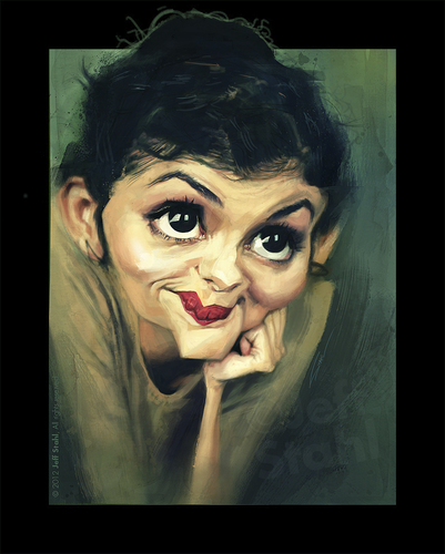Cartoon: Audrey Tautou (medium) by Jeff Stahl tagged audrey,tautou,french,actress,woman,eyes,lips,caricature,jeff,stahl,illustration,freelance