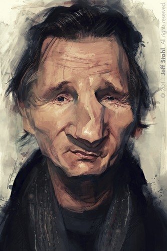 Cartoon: Liam Neeson (medium) by Jeff Stahl tagged liam,neeson,caricature,illustration,jeff,stahl,digital,painting,wacom,freelance,cambrai,nord,lille,communication,agence