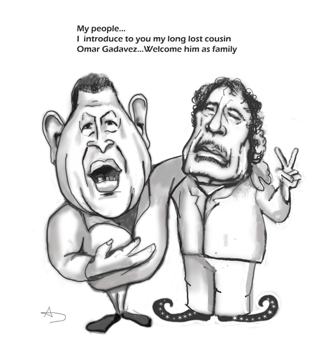 Cartoon: Dictators bond (medium) by AudreyD tagged gaddafi,chavez,caricature,humor,audrey