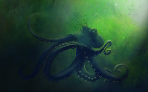 Cartoon: Krake (medium) by alesza tagged fear,mysterious,dark,sea,underwater,animal,painting,digital,krake