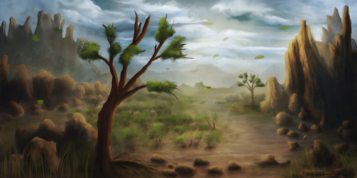 Cartoon: Landscape April 2017 (medium) by alesza tagged digital,art,painting,illustration,drawing,landscape,ipadart,conceptual,tree,environment,mountains