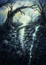 Cartoon: Fantasy environment (small) by alesza tagged landscape,nature,environment,digital,painting,illustration,art,tree,waterfall,fantasy,rock,mountain,bridge