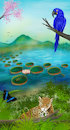 Cartoon: Pantanal (small) by alesza tagged nature,environment,ipad,procreate,landscape,mountain,light,blue,environmentdesign,conceptart