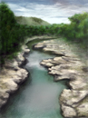 Cartoon: Pelorus River (small) by alesza tagged pelorus river southisland new zealand digital art painting illustration drawing unikatdesign hobbit lordoftherings nature