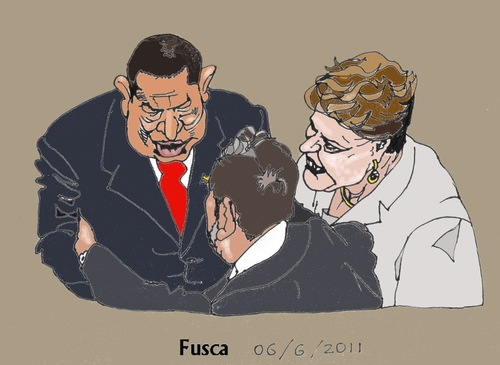 Cartoon: Who really runs Brazil (medium) by Fusca tagged dictators,populist,corruption,puppets,dilma,lula,chavez
