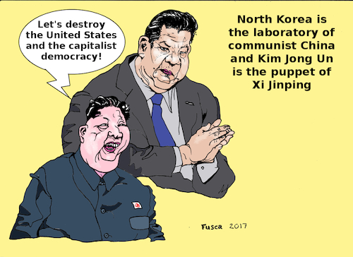 Cartoon: XiJinping and his puppet JongUn (medium) by Fusca tagged kim,jong,un,communism,china,northcorea,socialism,genocide,tyrants,xi,jinping