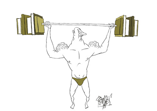 Cartoon: Weightlifting (medium) by Ramses tagged books,literature,reading,knowledge,learn